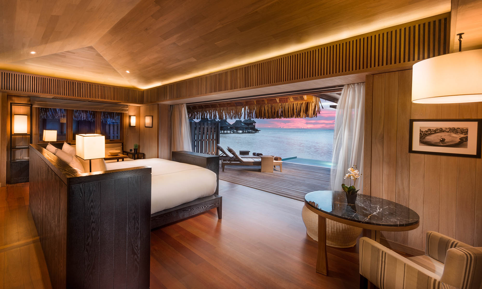 Interior of the Overwater Pool Villa at the Conrad Bora Bora Nui