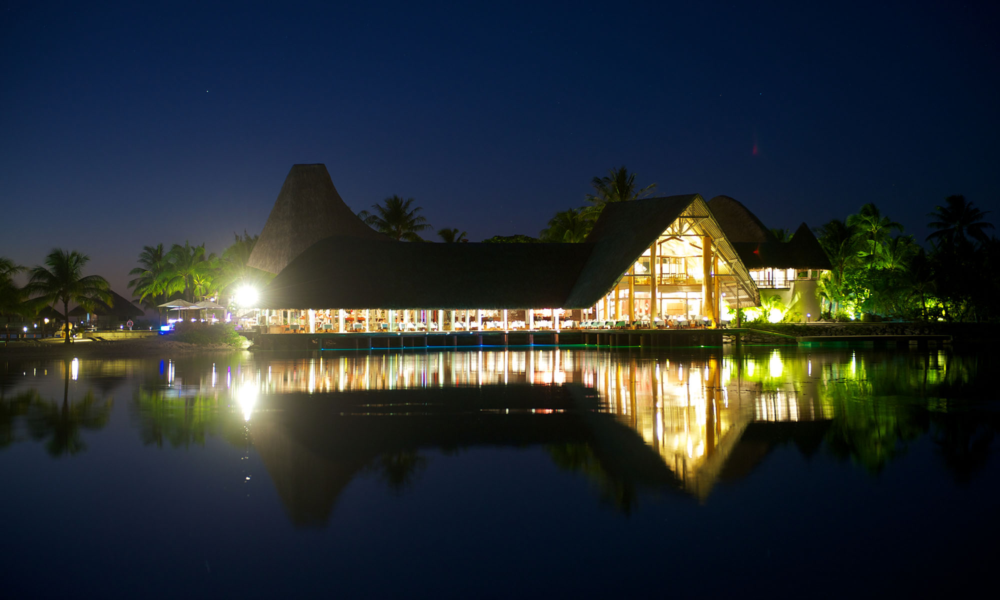 Le Meridien Bora Bora's Main Restaurant at Night