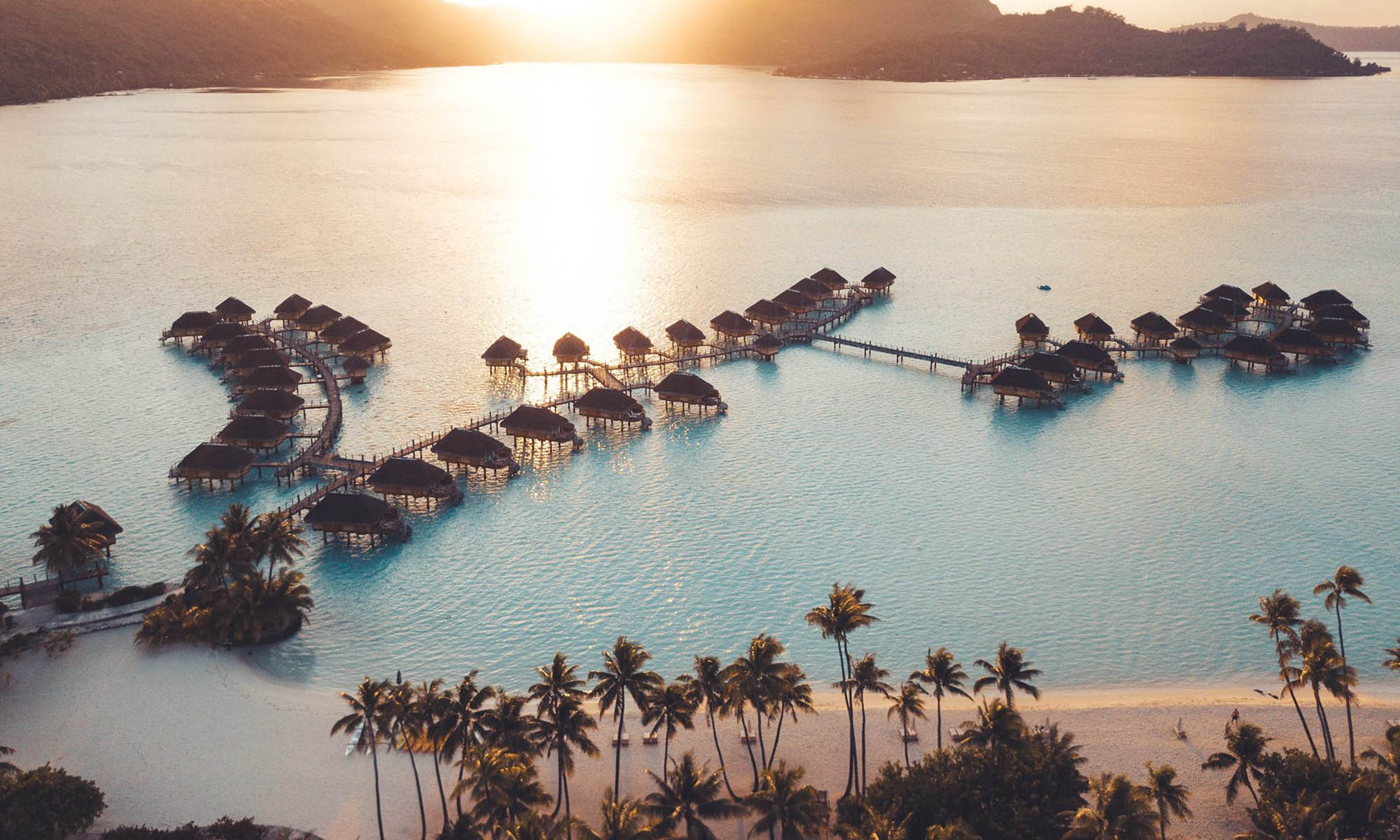 Bora Bora Pearl Beach Resort & Spa, Aerial at Sunset