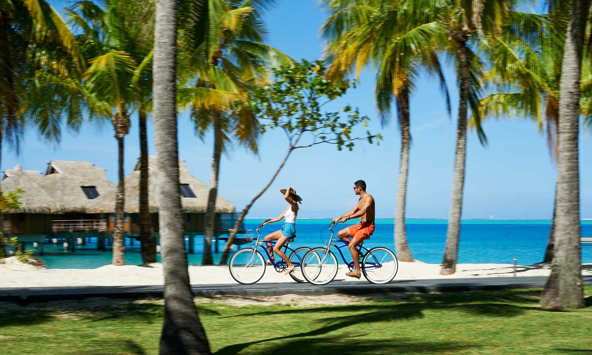 Riding your Complimentary Bicycle at the Conrad Bora Bora Nui