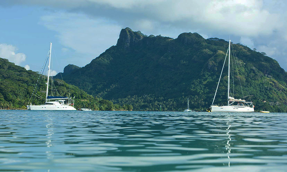 Yachts Moored off the Shore of Huahine