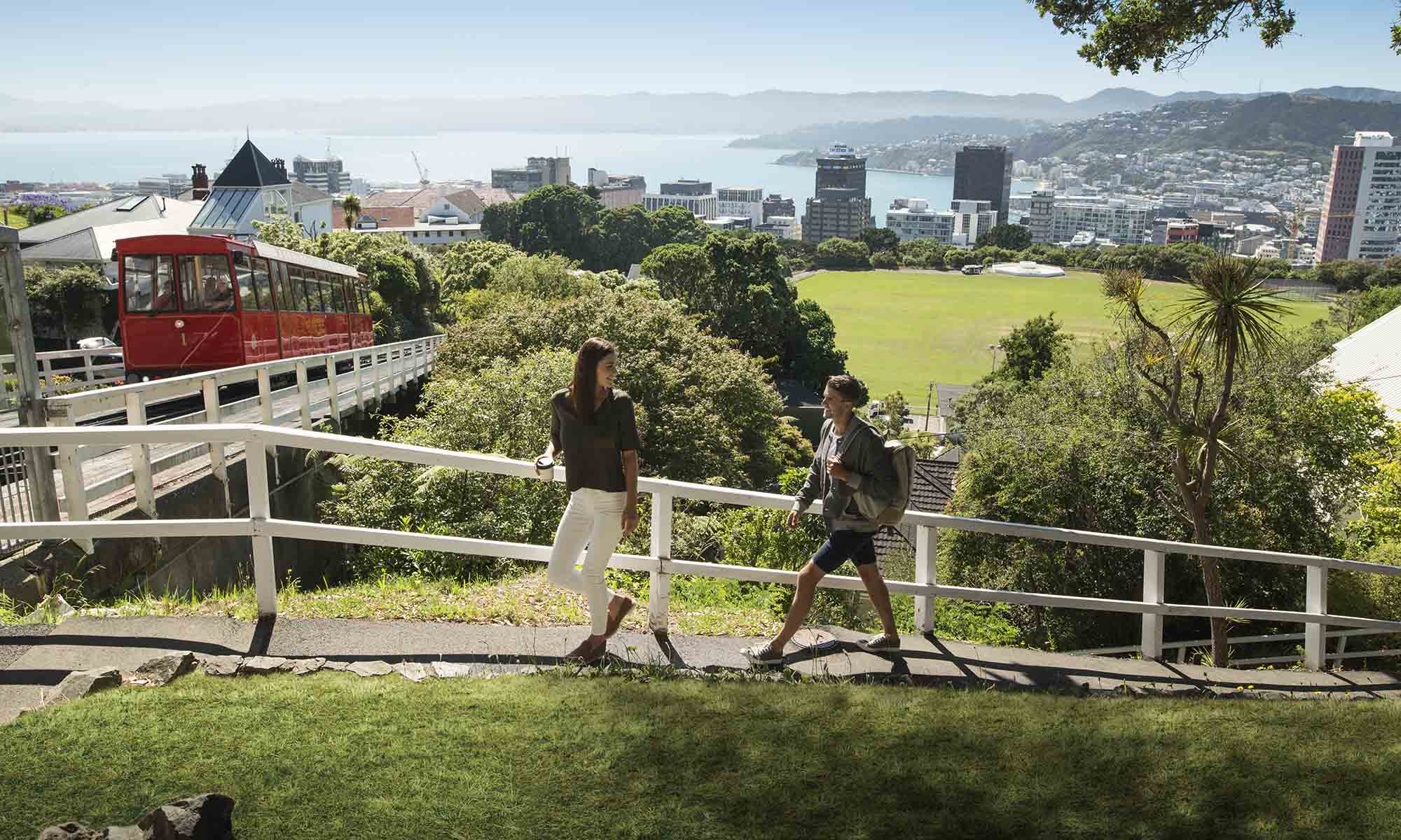 Couple Walking in Wellington, New Zealand