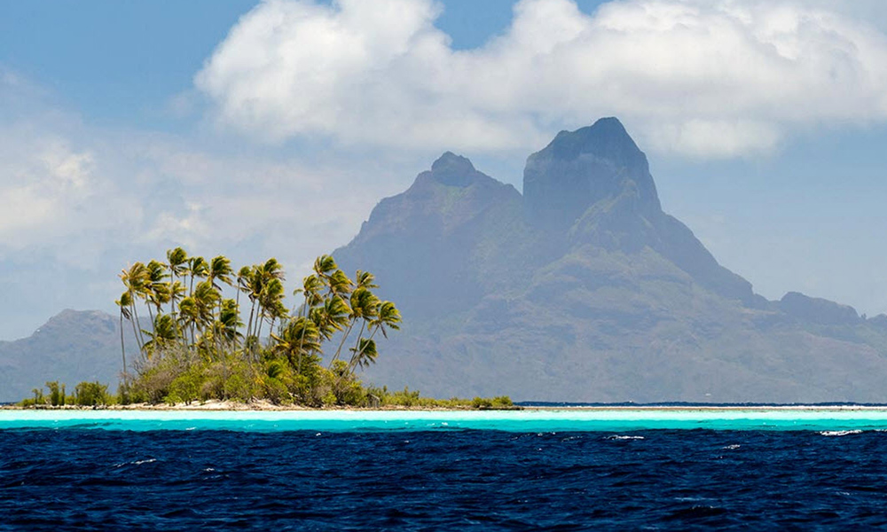 View of Bora Bora's Mt. Otemanu from Taha'a