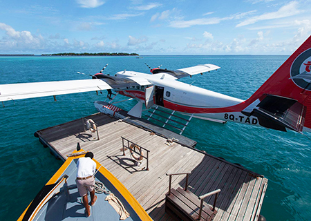 Arrive by Seaplane at Lily Beach Maldives