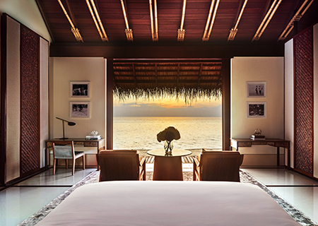View from Your Bed in the Water Villa, Reethi Rah Maldives