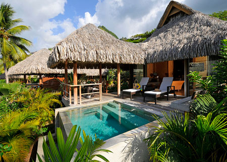 Intercontinental moorea and bora bora vacation tahiti for Garden pool bungalow
